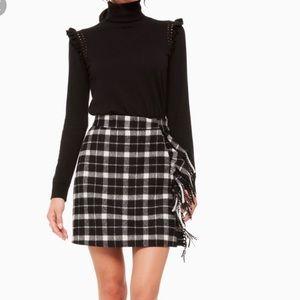 NWT Kate Spade Rustic Plaid Fringe Skirt